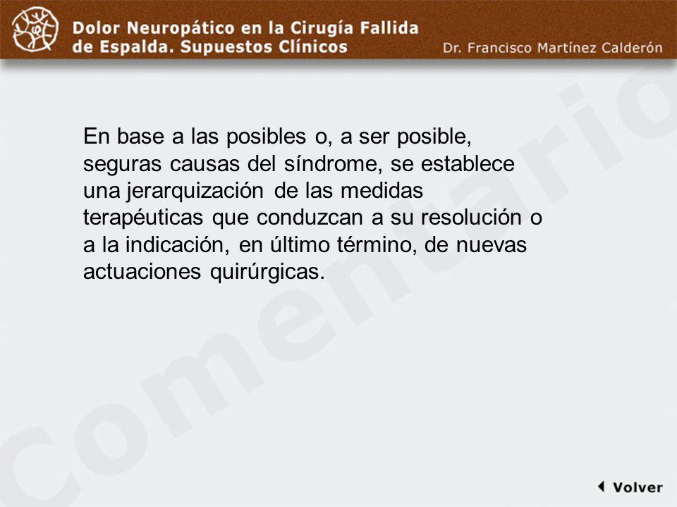 Comentario a diapo18/19 En base a las posibles o, a ser posible, seguras causas del síndrome, se establece una jerarquización de las medidas terapéuti