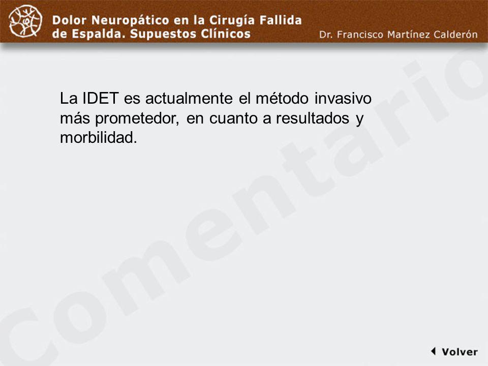 Comentario a diapo29 La IDET es actualmente el método invasivo más prometedor, en cuanto a resultados y morbilidad.