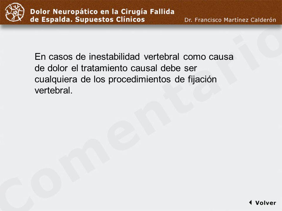 Comentario a diapo32 En casos de inestabilidad vertebral como causa de dolor el tratamiento causal debe ser cualquiera de los procedimientos de fijaci