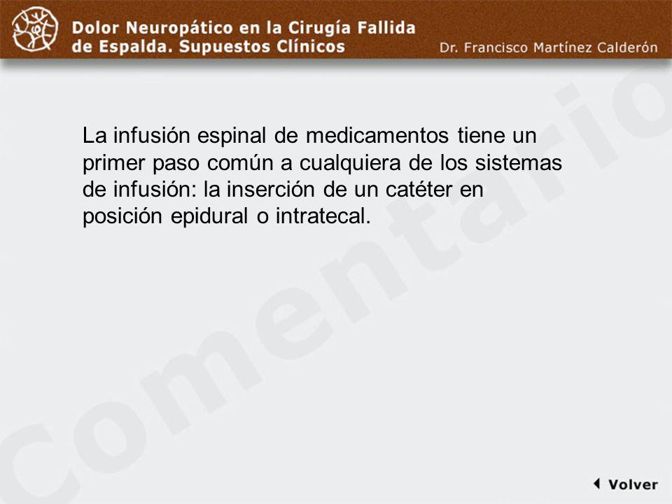 Comentario a diapo41 La infusión espinal de medicamentos tiene un primer paso común a cualquiera de los sistemas de infusión: la inserción de un catét