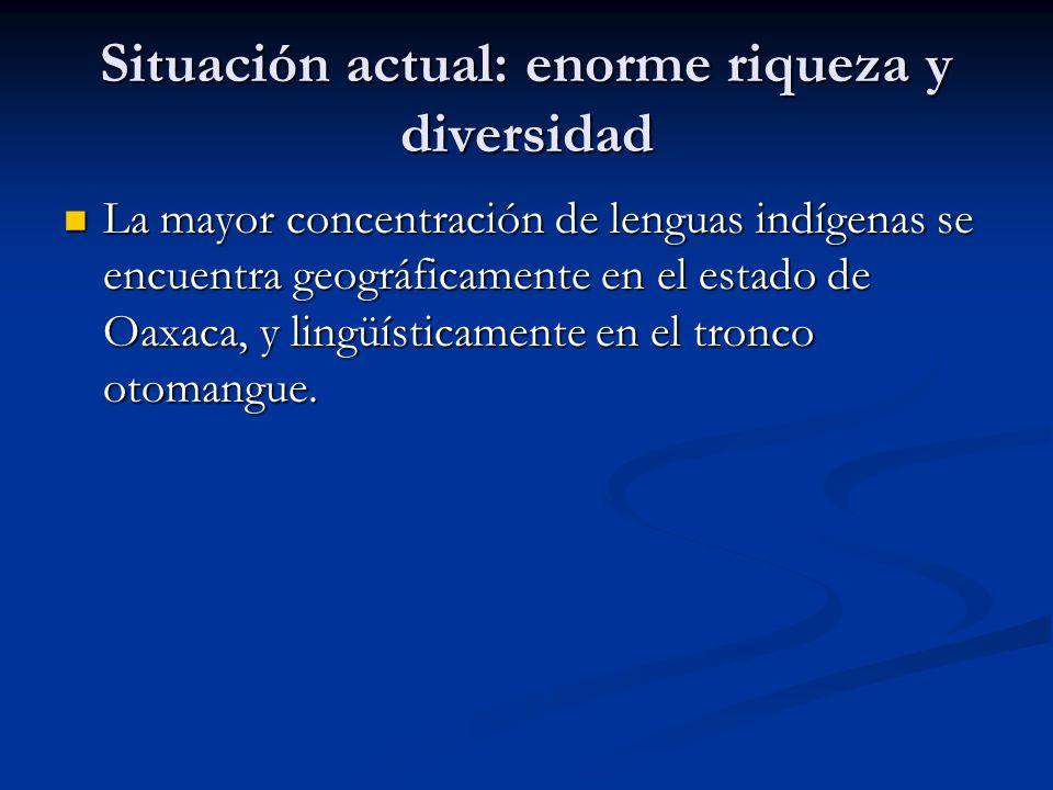 Situación actual: enorme riqueza y diversidad La mayor concentración de lenguas indígenas se encuentra geográficamente en el estado de Oaxaca, y lingüísticamente en el tronco otomangue.