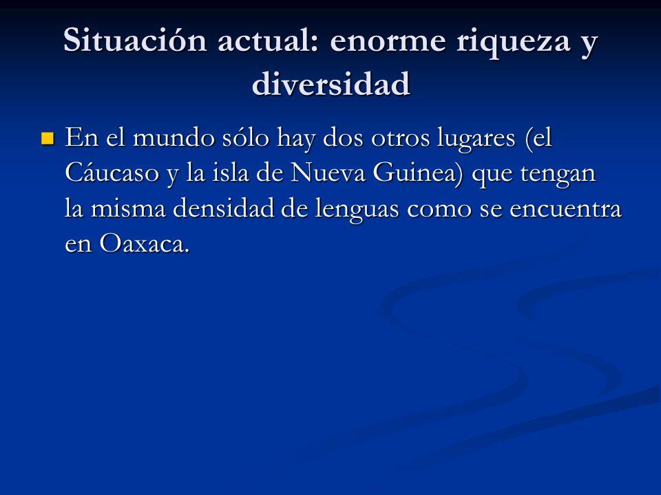 Situación actual: enorme riqueza y diversidad En el mundo sólo hay dos otros lugares (el Cáucaso y la isla de Nueva Guinea) que tengan la misma densidad de lenguas como se encuentra en Oaxaca.