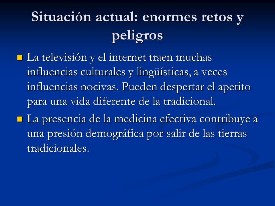 Situación actual: enormes retos y peligros La televisión y el internet traen muchas influencias culturales y lingüísticas, a veces influencias nocivas.