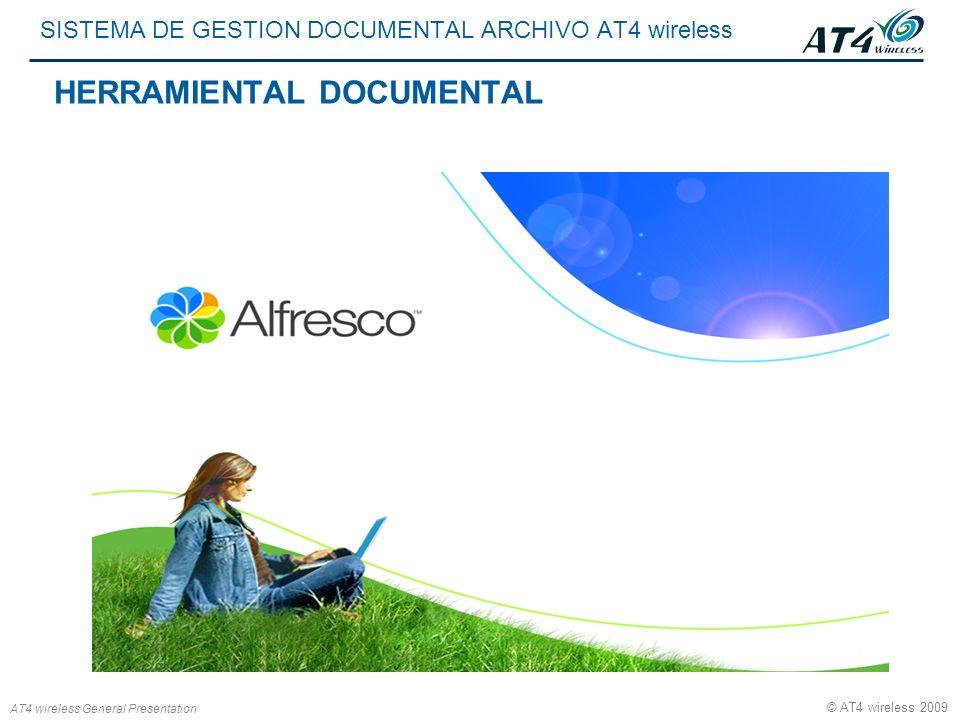 AT4 wireless General Presentation © AT4 wireless 2009 SISTEMA DE GESTION DOCUMENTAL ARCHIVO AT4 wireless HERRAMIENTAL DOCUMENTAL