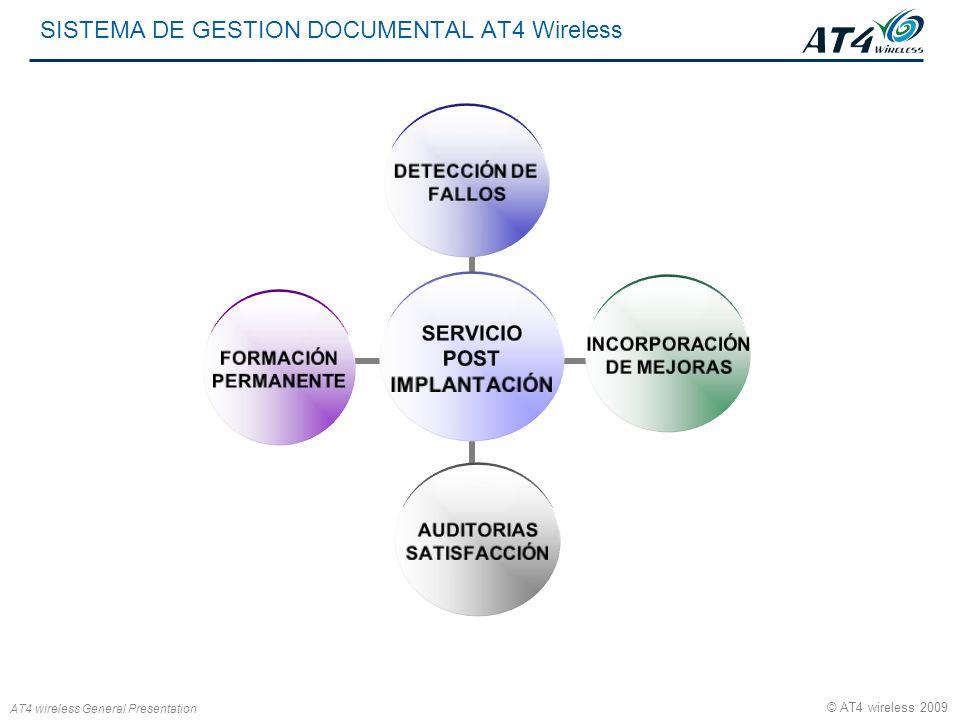 AT4 wireless General Presentation © AT4 wireless 2009 SISTEMA DE GESTION DOCUMENTAL AT4 Wireless SERVICIO POST IMPLANTACIÓN DETECCIÓN DE FALLOS INCORP
