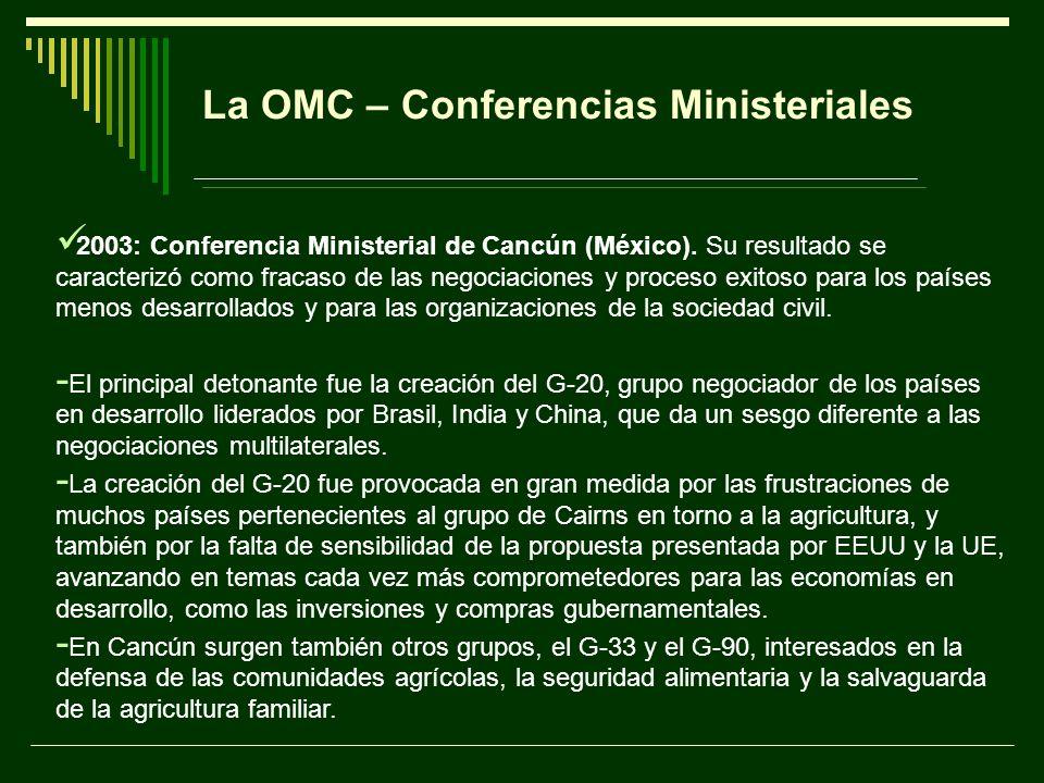 La OMC – Conferencias Ministeriales 2003: Conferencia Ministerial de Cancún (México). Su resultado se caracterizó como fracaso de las negociaciones y