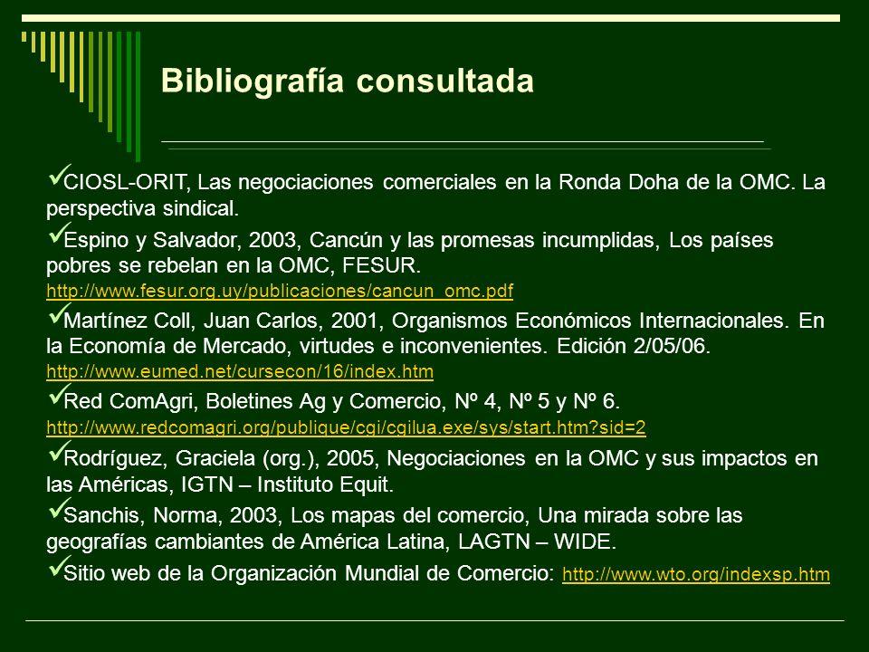 Bibliografía consultada CIOSL-ORIT, Las negociaciones comerciales en la Ronda Doha de la OMC. La perspectiva sindical. Espino y Salvador, 2003, Cancún