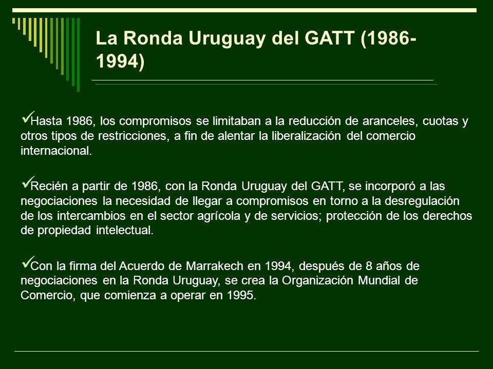 La Ronda Uruguay del GATT (1986- 1994) Hasta 1986, los compromisos se limitaban a la reducción de aranceles, cuotas y otros tipos de restricciones, a