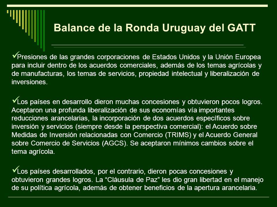 Balance de la Ronda Uruguay del GATT Presiones de las grandes corporaciones de Estados Unidos y la Unión Europea para incluir dentro de los acuerdos c