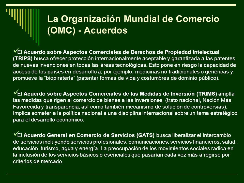 La Organización Mundial de Comercio (OMC) - Acuerdos El Acuerdo sobre Aspectos Comerciales de Derechos de Propiedad Intelectual (TRIPS) busca ofrecer