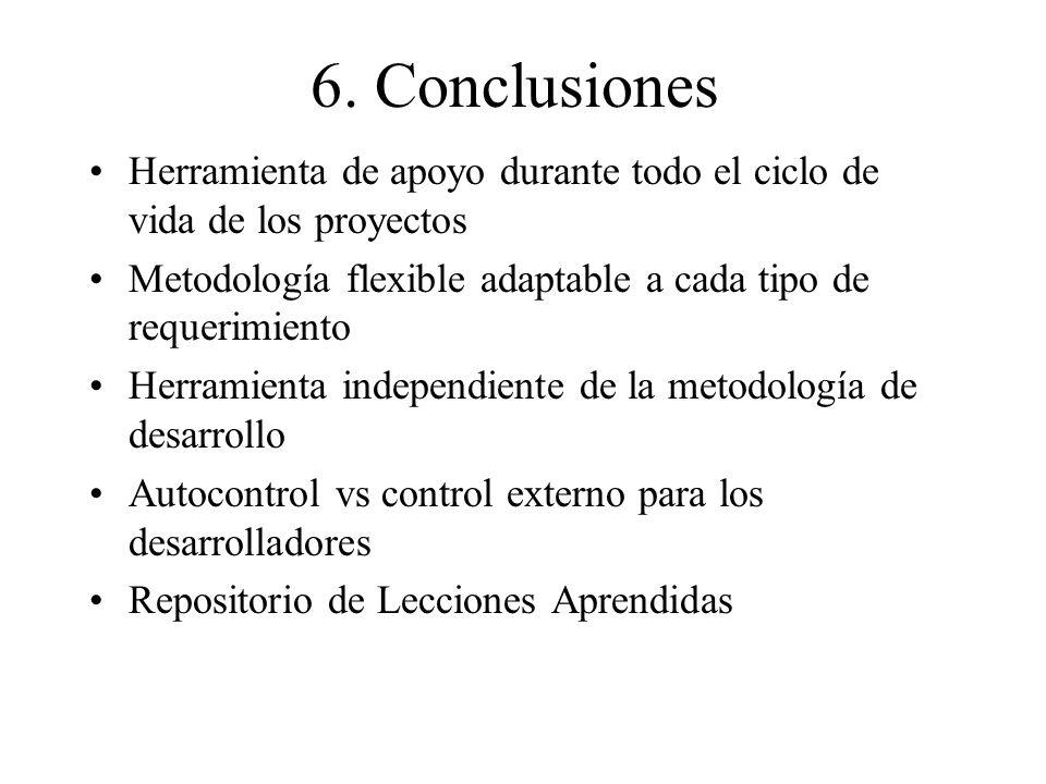 6. Conclusiones Herramienta de apoyo durante todo el ciclo de vida de los proyectos Metodología flexible adaptable a cada tipo de requerimiento Herram