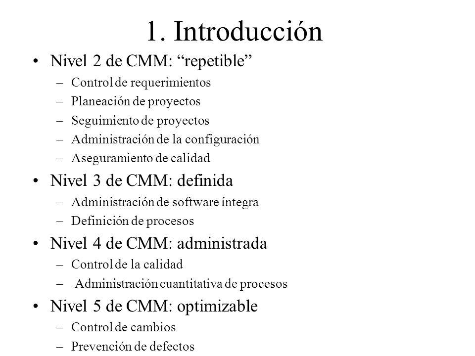 1. Introducción Nivel 2 de CMM: repetible –Control de requerimientos –Planeación de proyectos –Seguimiento de proyectos –Administración de la configur