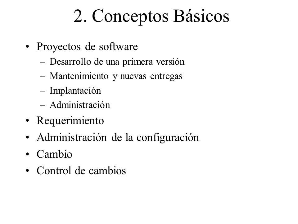 2. Conceptos Básicos Proyectos de software –Desarrollo de una primera versión –Mantenimiento y nuevas entregas –Implantación –Administración Requerimi