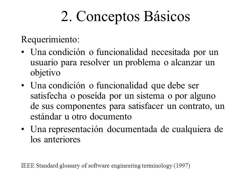 2. Conceptos Básicos Requerimiento: Una condición o funcionalidad necesitada por un usuario para resolver un problema o alcanzar un objetivo Una condi