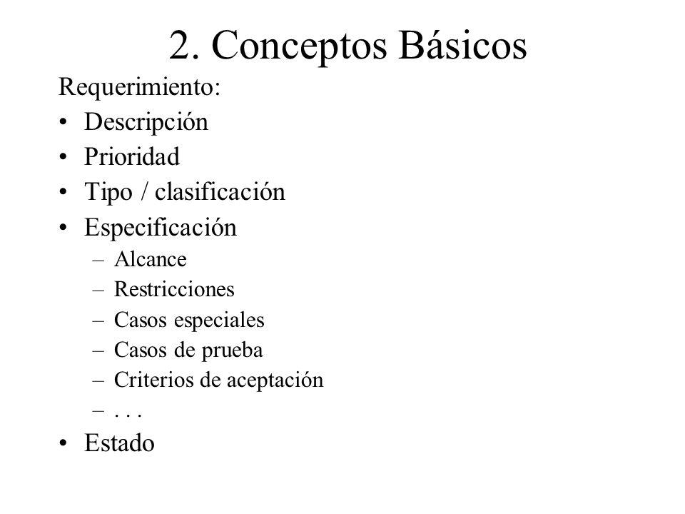 2. Conceptos Básicos Requerimiento: Descripción Prioridad Tipo / clasificación Especificación –Alcance –Restricciones –Casos especiales –Casos de prue