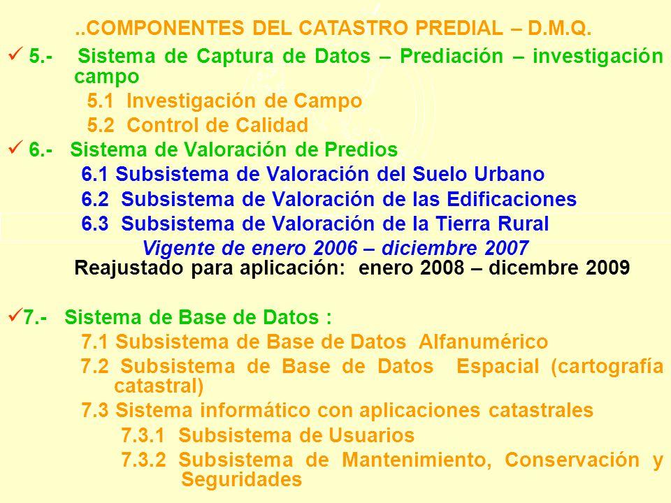 5.- Sistema de Captura de Datos – Prediación – investigación campo 5.1 Investigación de Campo 5.2 Control de Calidad 6.- Sistema de Valoración de Pred