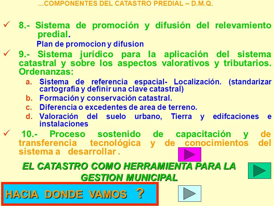 8.- Sistema de promoción y difusión del relevamiento predial. Plan de promocion y difusion 9.- Sistema jurídico para la aplicación del sistema catastr