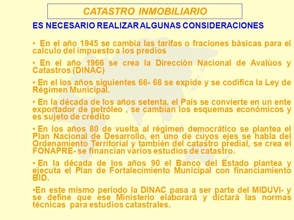 En los años 1996 al 2000, se vive en el País un proceso inflacionario (devaluaciones) que conlleva un deterioro del sistema económico financiero, ternimando en el mes de enero del año 2.000 con el sistema económico nacional y estableciendose un esquema de funcionamiento monetario del Dólar sustentado en la Ley de Transformación económica del Ecuador Sin embargo de estar en un sistema de Dolarización, ninguna persona se preocupa de plantear modificaciones a las formas de cálculo de las imposiciones inmobiliarias municipales – aspecto que si se dió en menos de doce años, alla por los 1945.