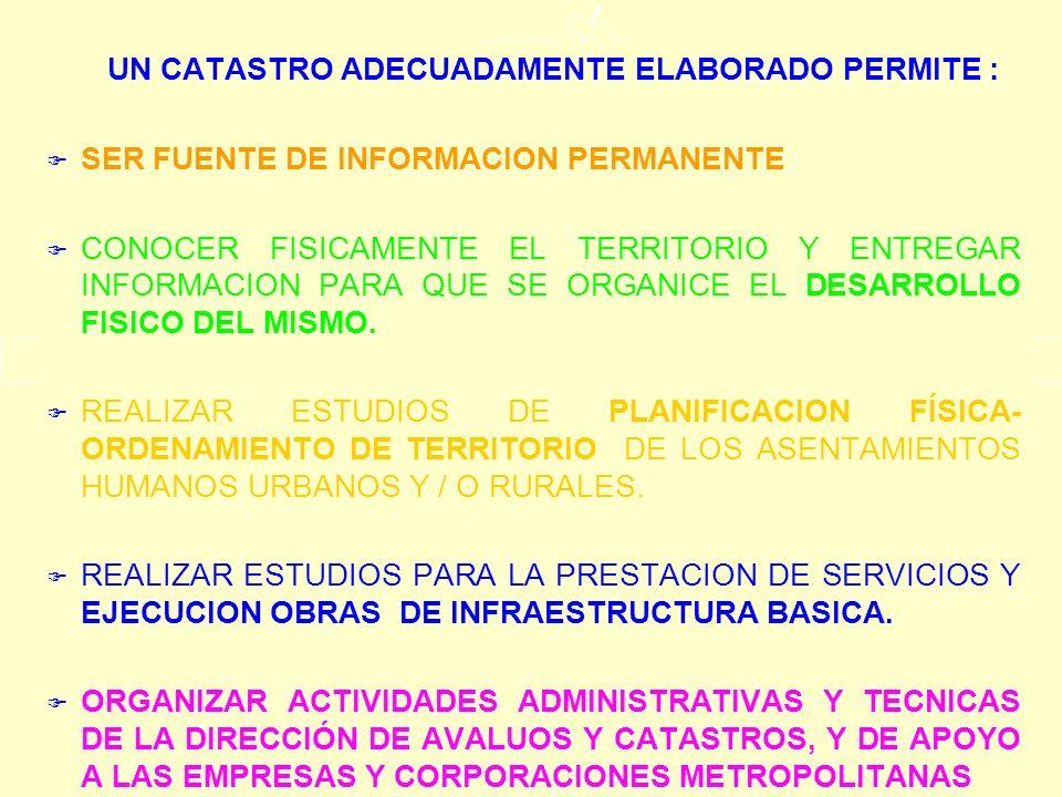 UN CATASTRO ADECUADAMENTE ELABORADO PERMITE: o LA IDENTIFICACION DE PROGRAMAS Y PROYECTOS DE EQUIPAMIENTO URBANO–RURAL E INFRAESTRUCTURA SOCIAL NECESARIAS.