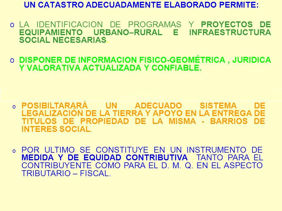 UN CATASTRO ADECUADAMENTE ELABORADO PERMITE: o LA IDENTIFICACION DE PROGRAMAS Y PROYECTOS DE EQUIPAMIENTO URBANO–RURAL E INFRAESTRUCTURA SOCIAL NECESA