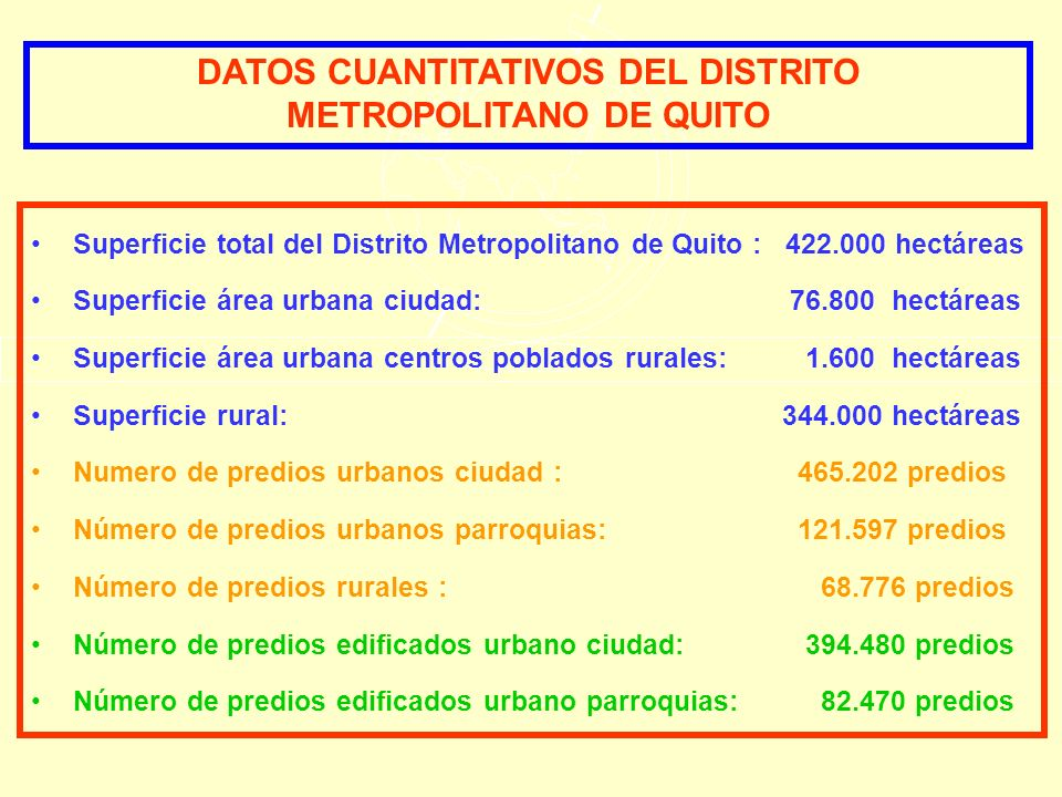 Superficie total del Distrito Metropolitano de Quito : 422.000 hectáreas Superficie área urbana ciudad: 76.800 hectáreas Superficie área urbana centro