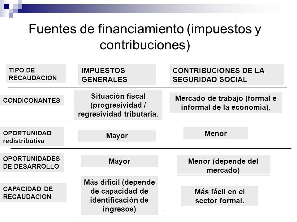 Fuentes de financiamiento (impuestos y contribuciones) Situación fiscal (progresividad / regresividad tributaria. Mercado de trabajo (formal e informa