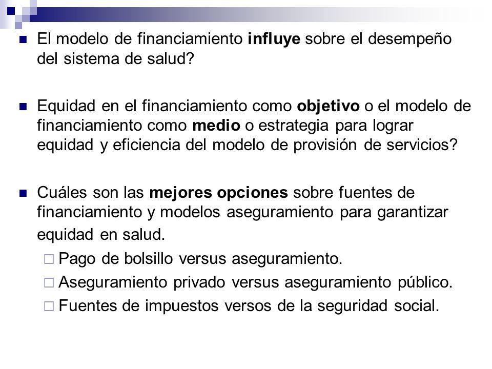 El modelo de financiamiento influye sobre el desempeño del sistema de salud? Equidad en el financiamiento como objetivo o el modelo de financiamiento