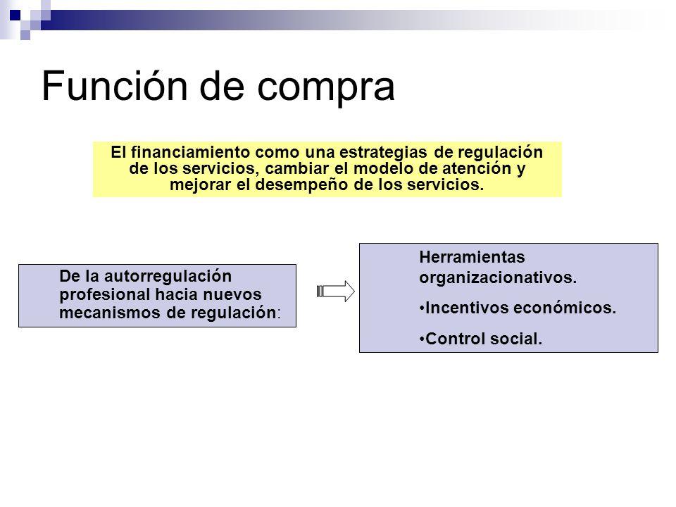 Función de compra El financiamiento como una estrategias de regulación de los servicios, cambiar el modelo de atención y mejorar el desempeño de los s