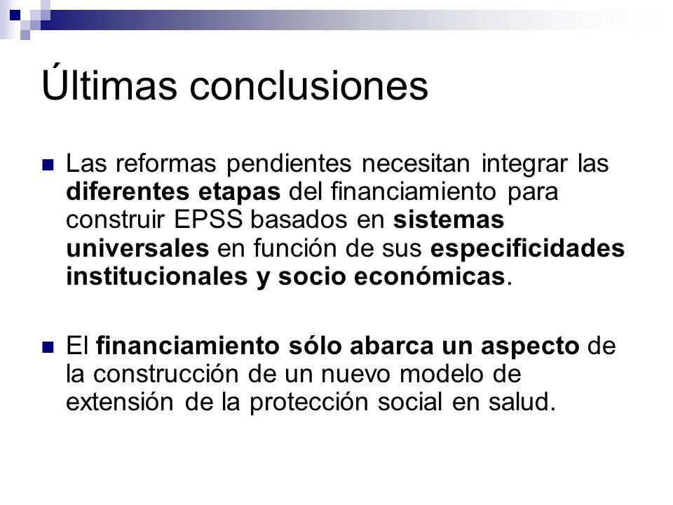 Últimas conclusiones Las reformas pendientes necesitan integrar las diferentes etapas del financiamiento para construir EPSS basados en sistemas unive