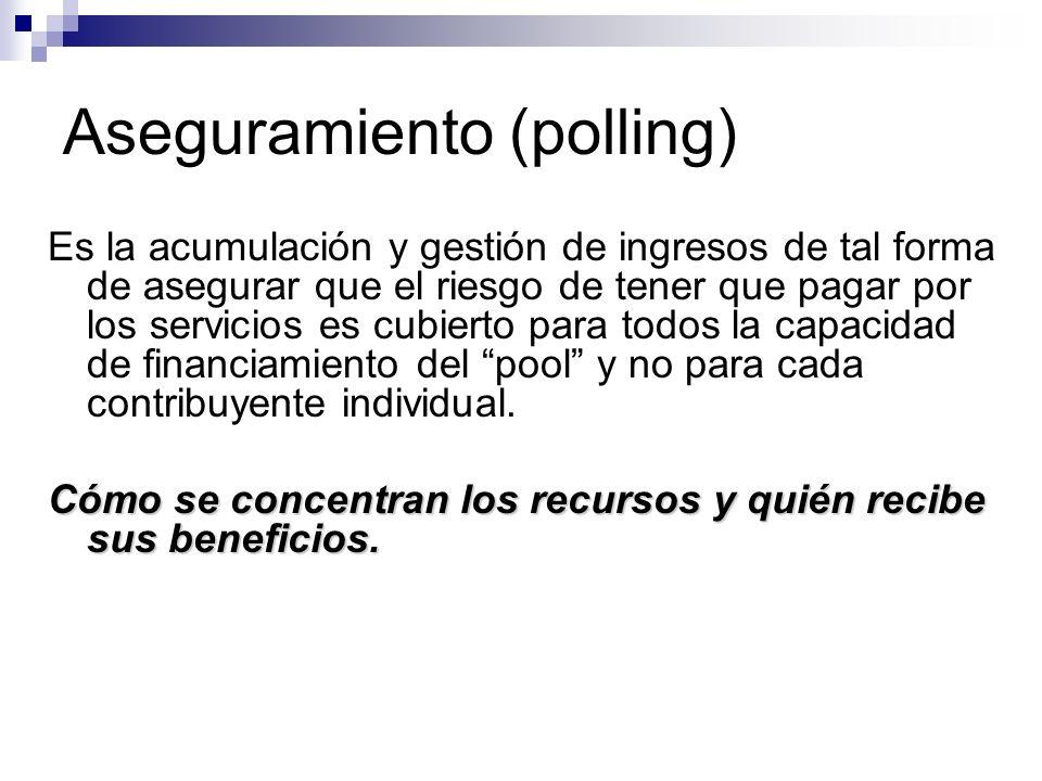 Aseguramiento (polling) Es la acumulación y gestión de ingresos de tal forma de asegurar que el riesgo de tener que pagar por los servicios es cubiert