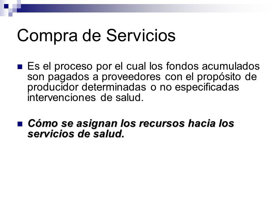 Compra de Servicios Es el proceso por el cual los fondos acumulados son pagados a proveedores con el propósito de producidor determinadas o no especif