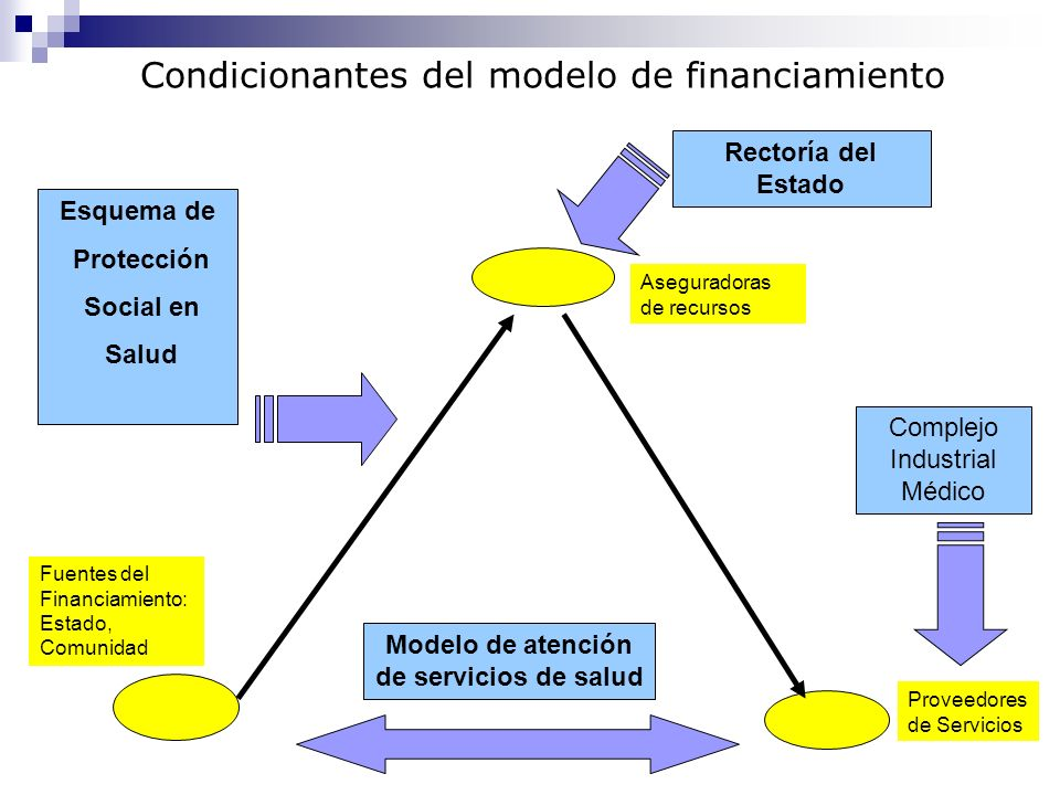 Fuentes del Financiamiento: Estado, Comunidad Aseguradoras de recursos Proveedores de Servicios Rectoría del Estado Esquema de Protección Social en Sa