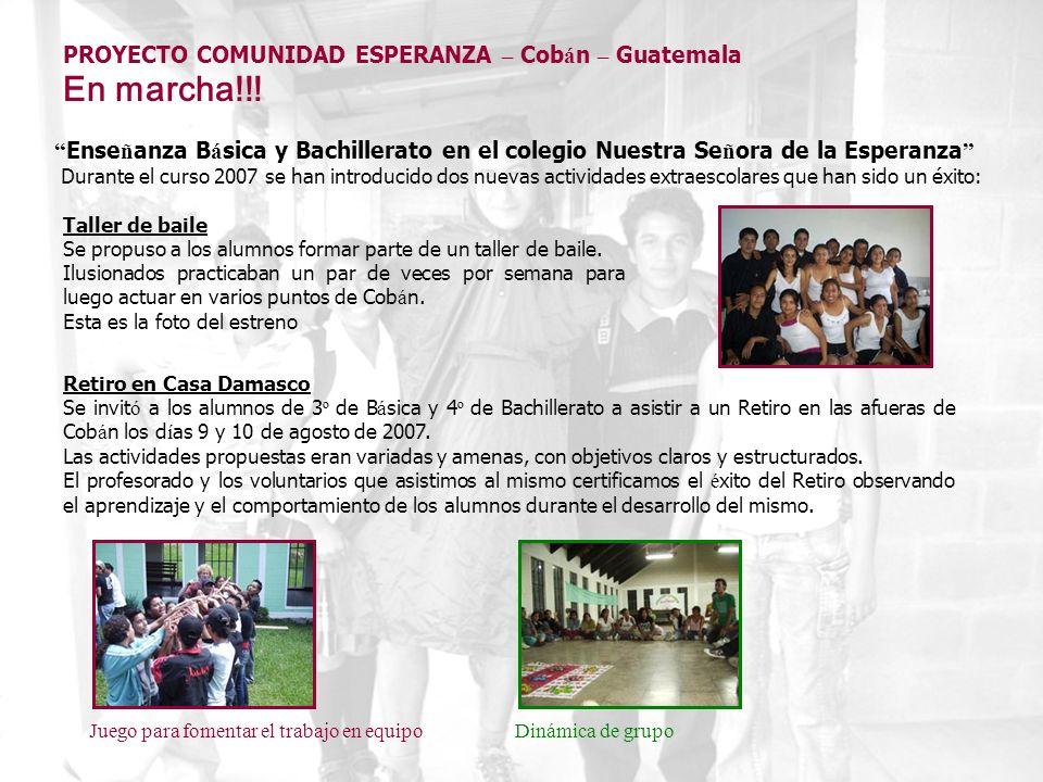 Ense ñ anza B á sica y Bachillerato en el colegio Nuestra Se ñ ora de la Esperanza Durante el curso 2007 se han introducido dos nuevas actividades ext
