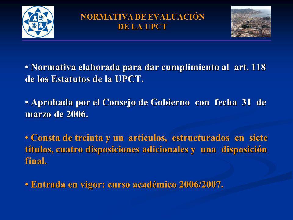 NORMATIVA DE EVALUACIÓN DE LA UPCT Normativa elaborada para dar cumplimiento al art. 118 Normativa elaborada para dar cumplimiento al art. 118 de los