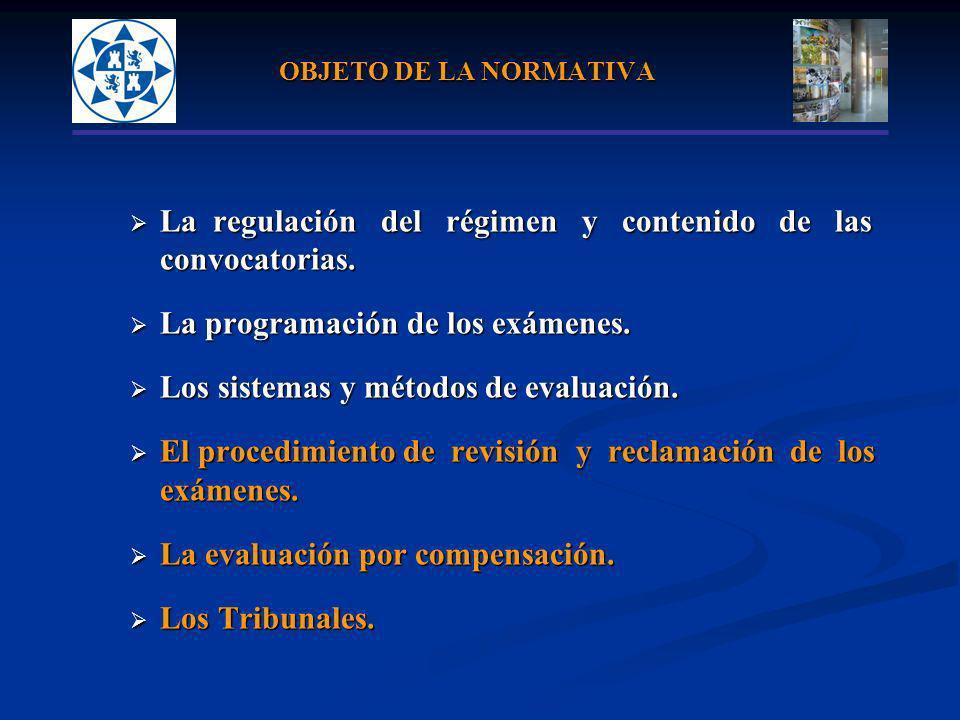 OBJETO DE LA NORMATIVA La regulación del régimen y contenido de las La regulación del régimen y contenido de lasconvocatorias. La programación de los