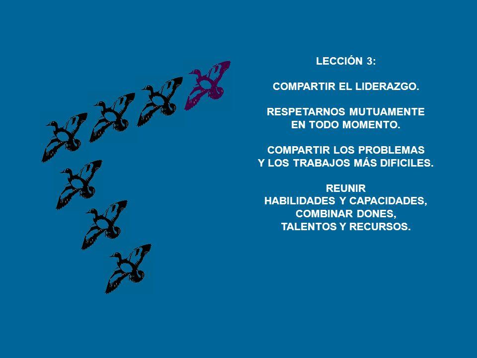 LECCIÓN 3: COMPARTIR EL LIDERAZGO.RESPETARNOS MUTUAMENTE EN TODO MOMENTO.