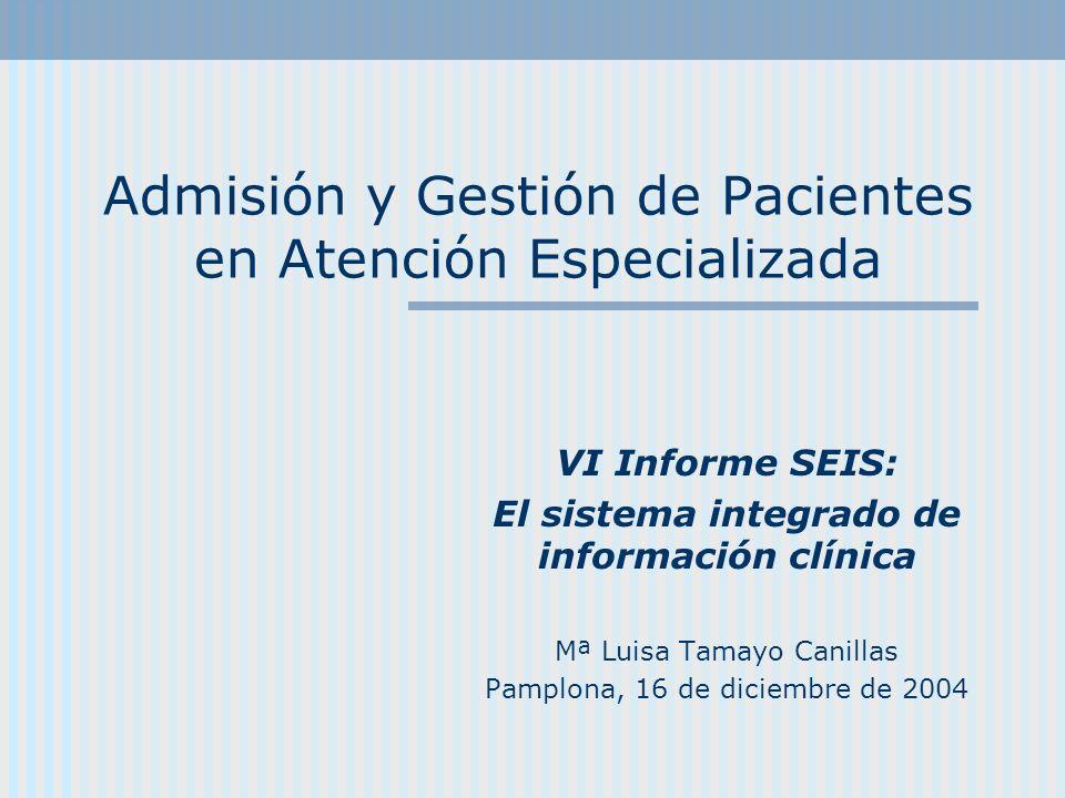 Admisión y Gestión de Pacientes en Atención Especializada VI Informe SEIS: El sistema integrado de información clínica Mª Luisa Tamayo Canillas Pamplo