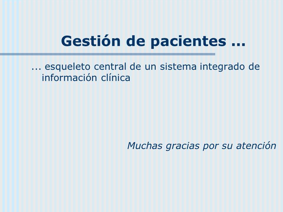 Gestión de pacientes...... esqueleto central de un sistema integrado de información clínica Muchas gracias por su atención