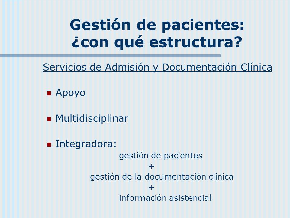 Gestión de pacientes: ¿con qué estructura? Servicios de Admisión y Documentación Clínica Apoyo Multidisciplinar Integradora: gestión de pacientes + ge