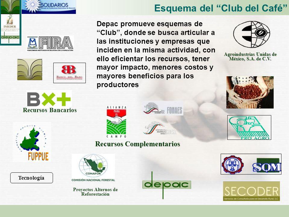 Esquema del Club del Café Depac promueve esquemas de Club, donde se busca articular a las instituciones y empresas que inciden en la misma actividad,