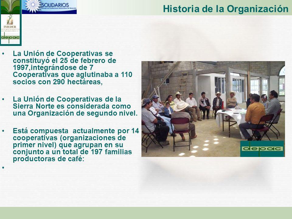 Historia de la Organización La Unión de Cooperativas se constituyó el 25 de febrero de 1997,integrándose de 7 Cooperativas que aglutinaba a 110 socios