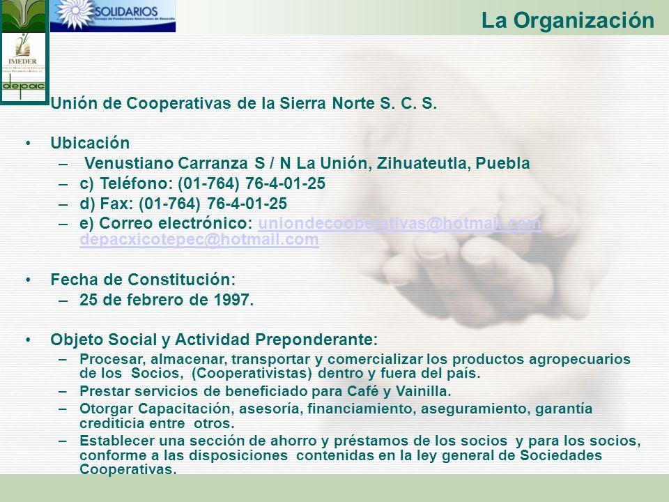 La Organización Unión de Cooperativas de la Sierra Norte S. C. S. Ubicación – Venustiano Carranza S / N La Unión, Zihuateutla, Puebla –c) Teléfono: (0