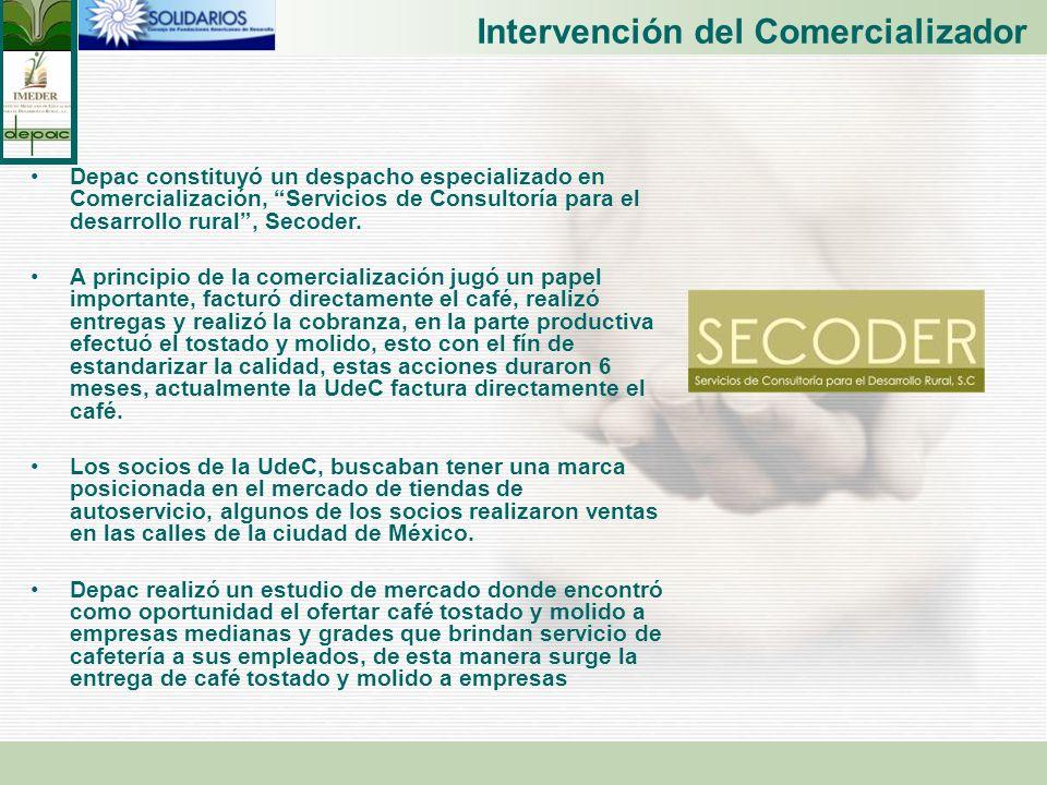 Intervención del Comercializador Depac constituyó un despacho especializado en Comercialización, Servicios de Consultoría para el desarrollo rural, Se