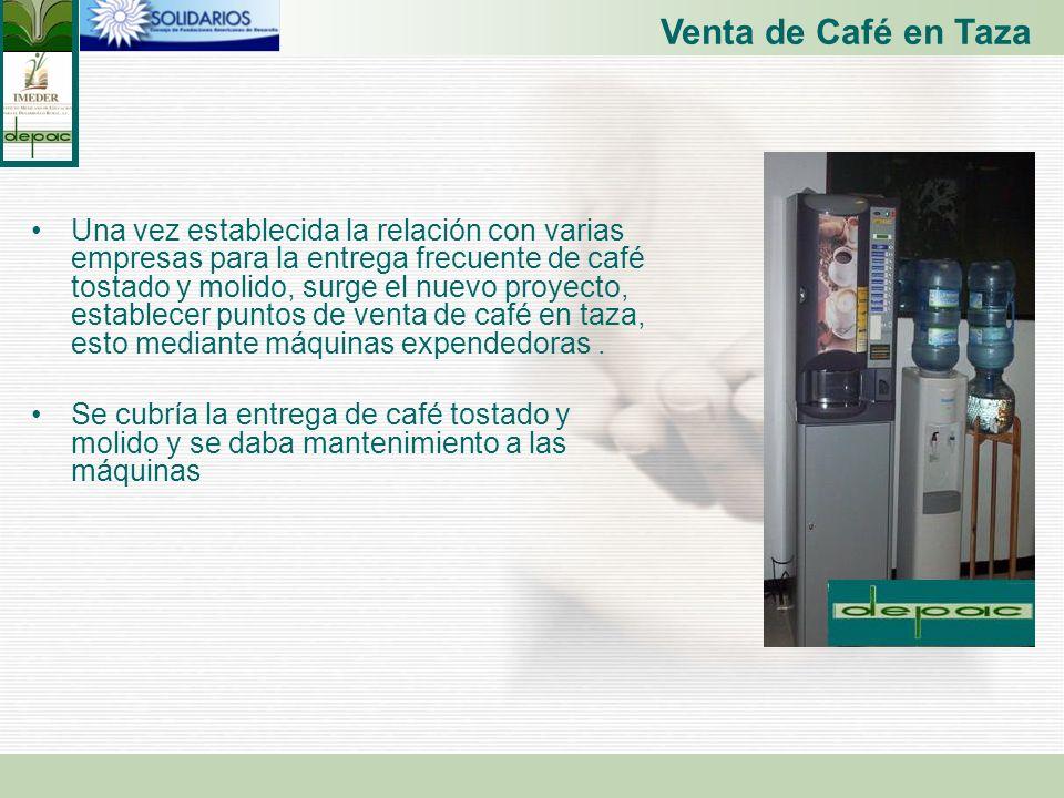 Venta de Café en Taza Una vez establecida la relación con varias empresas para la entrega frecuente de café tostado y molido, surge el nuevo proyecto,