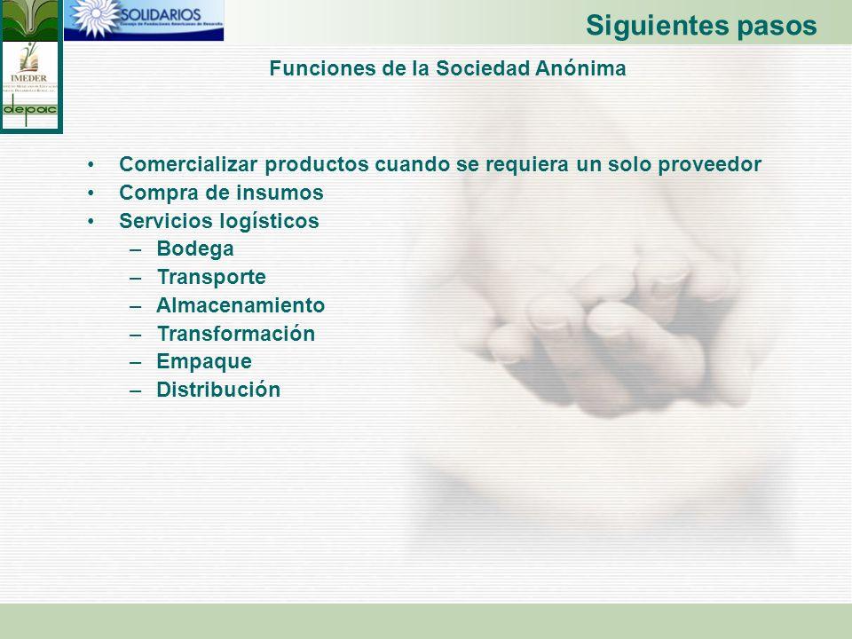 Funciones de la Sociedad Anónima Comercializar productos cuando se requiera un solo proveedor Compra de insumos Servicios logísticos –Bodega –Transpor