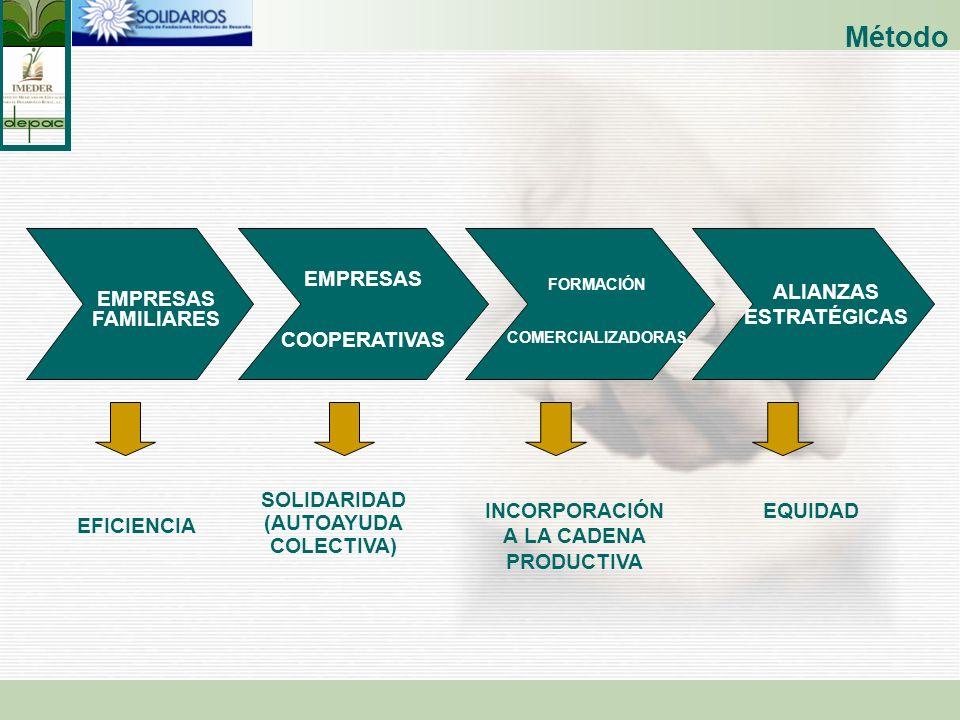 EFICIENCIA SOLIDARIDAD (AUTOAYUDA COLECTIVA) EQUIDAD EMPRESAS FAMILIARES EMPRESAS COOPERATIVAS FORMACIÓN COMERCIALIZADORAS ALIANZAS ESTRATÉGICAS INCOR