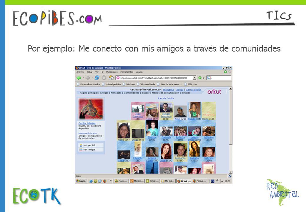 Por ejemplo: Me conecto con mis amigos a través de comunidades
