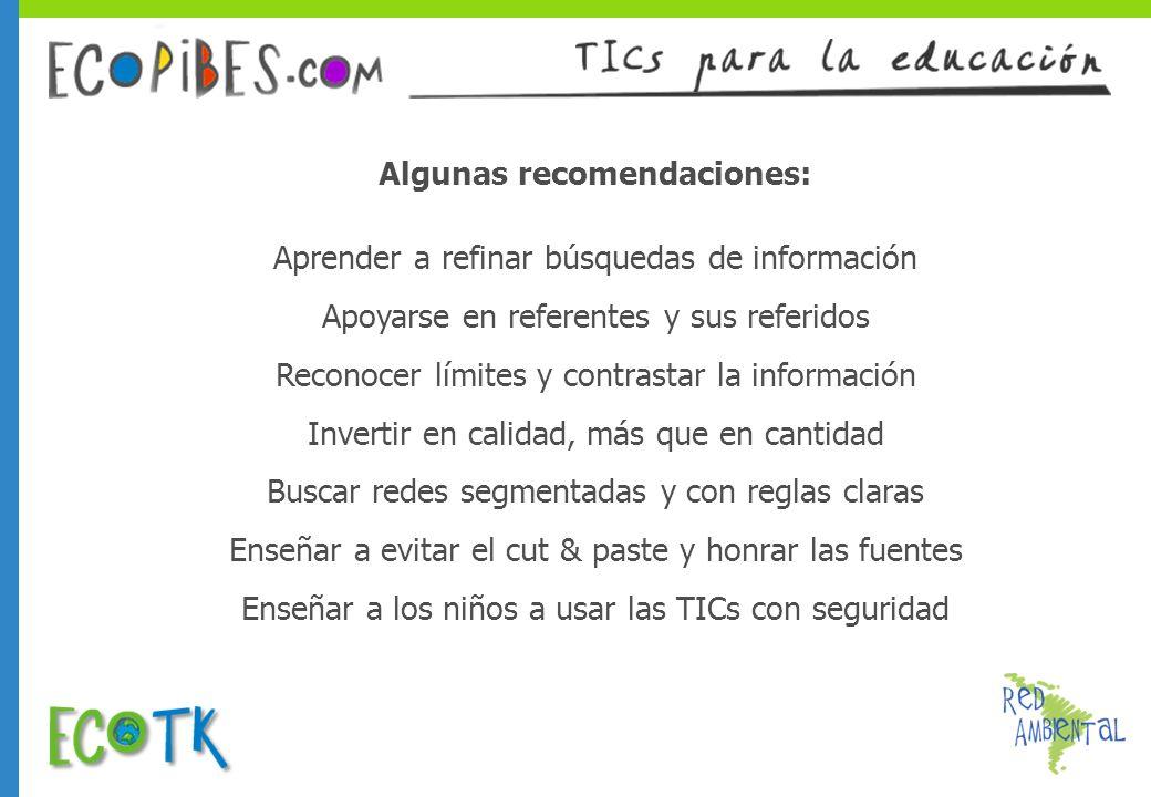 Algunas recomendaciones: Aprender a refinar búsquedas de información Apoyarse en referentes y sus referidos Reconocer límites y contrastar la informac