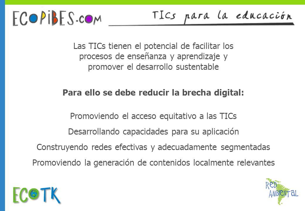 Las TICs tienen el potencial de facilitar los procesos de enseñanza y aprendizaje y promover el desarrollo sustentable Para ello se debe reducir la br