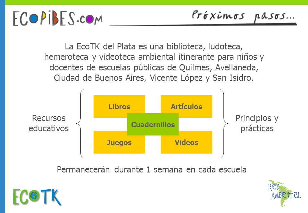 La EcoTK del Plata es una biblioteca, ludoteca, hemeroteca y videoteca ambiental itinerante para niños y docentes de escuelas públicas de Quilmes, Ave